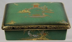 Carlton Ware Vert Royale 'New Mikado' Trinket/Cigarette Box - 1940s